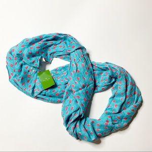 Kate Spade NY infinity scarf leopard dot blue pink